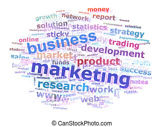Colorful Business Marketing Word Cloud Concept Over White Background