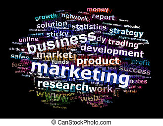 Colorful Business Marketing Word Cloud Concept Over Black Background