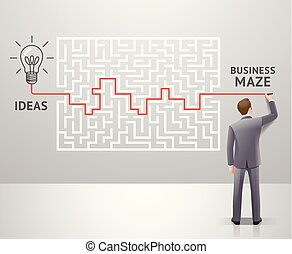 Business maze conceptuel design. Businessman with a labyrinth and think about solution to success. Graphic vector illustrations.