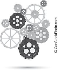 Business mechanism concept. Abstract background with connected gears and icons for strategy, service, analytics, research, seo, digital marketing, communicate concepts. Vector  illustration of frrame from gear whith text