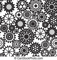 Business mechanism concept. Abstract background with connected gears and icons for strategy, service, analytics, research, seo, digital marketing, communicate concepts. Vector seamless pattern illustration