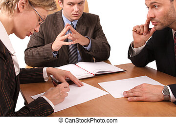 Business meeting - 2 men, 1 woman - signing contract