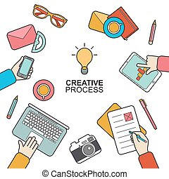 Business meeting and brainstorming concept in modern flat style. Vector flat background design of creative process.