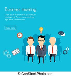 Business meeting and brainstorming. Flat design. Vector...