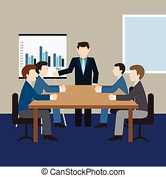 Business meeting and presentation in an office.