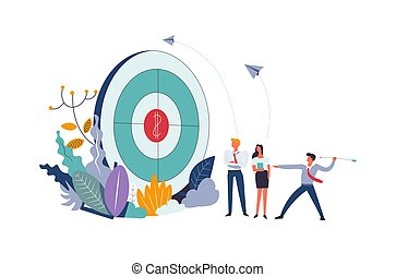Business meeting and target with dollar sign aim vector