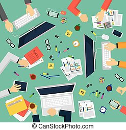Business meeting and team work. Vector illustration