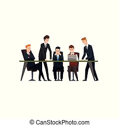 Business meeting and teamwork, colleagues characters exchanging ideas and experience, coworking people vector Illustration on a white background
