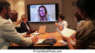 Business Meeting and Video Call - Surface level view of a...