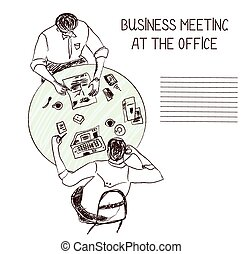 Business meeting at the office - sketch illustration