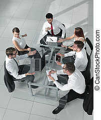 business meeting at the table, top view
