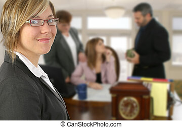 Business Meeting - Beautiful young business woman against...