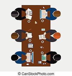 Business meeting, brainstorming in flat style.