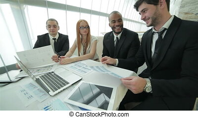 Business meeting business partners - Smiling businessman in...