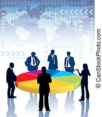 Businesspeople standing next to a large graph, vector illustration.