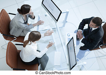 Business meeting. Busy people work in office, top view