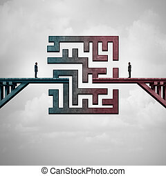 Business meeting challenge and communication solution concept as a bridge with a maze dividing two business people as a metaphor for team strategy with 3D illustration elements.