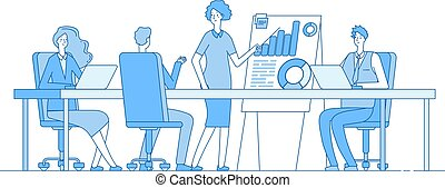 Business meeting concept. Businesswoman on presentation with team. People office conference. Successful teamwork vector background. Illustration of meeting team in office, show conference presentation
