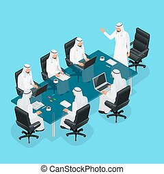 Business meeting concept, International Business, Arabic businessman presenting his ideas to colleagues for success investments at bright modern office room. 3d flat isometric vector illustration.