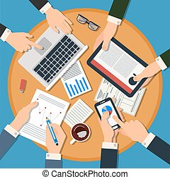 Business Meeting Concept. Top View of Desk with Hands, Gadgets and Documents