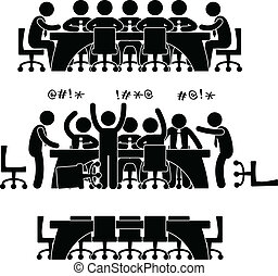 A set of pictogram representing a group of co-workers doing discussion and meeting.