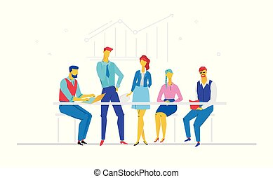 Business meeting - flat design style colorful illustration
