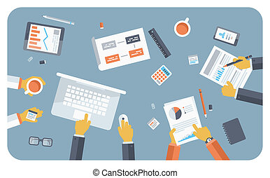 Flat design style modern vector illustration concept of teamwork consulting on briefing, small business project presentation, group of people planning and brainstorming ideas of company financial strategy.