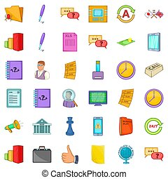 Business meeting icons set, cartoon style