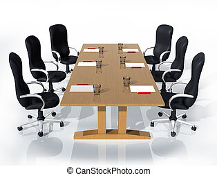 Business meeting - Illustration of six chairs around a table...