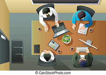 Business meeting - A vector illustration of overhead view of...