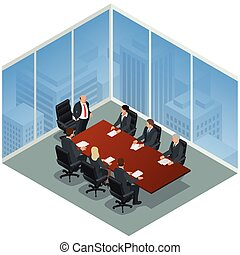 Business meeting in a modern office. Speaker at Business Conference and Presentation. Business People on a Meeting. Flat 3d vector isometric illustration