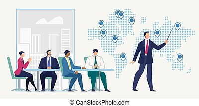 Business Meeting, International Project Presentation, Planning Strategy Flat Vector Concept. Businessman Conducting Negotiation with Employees, Partners in Office, Pointing on World Map Illustration