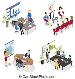 Business meeting in the conference room set. Team on the seminar and man or woman making presentation with diagram and graph for colleagues. Isolated vector isometric illustration