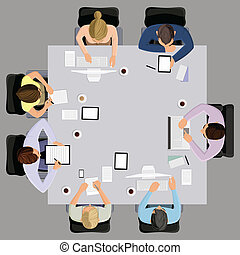 Office workers business managment meeting and brainstorming on the square table in top view vector illustration