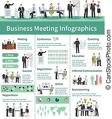 Business Meeting Infographic Set. Business Meeting Information. Business Conference Flat Set. Business Meeting Vector Illustration.