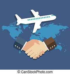 Business meeting, international partnership concept. Flat design.