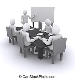 business meeting, man who shows presentation on board 3d...