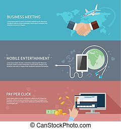 Flat design concept for business meeting, smartphone services, mobile entertainment and pay per click banners