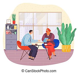 Business meeting of partners, businesspeople, hr holding cv, interview with candidate at work