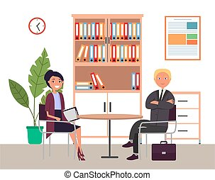 Business meeting or working process. Woman sitting in office workspace communicating with a man