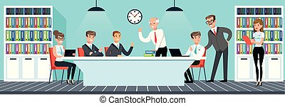 Business meeting, people working in the office vector Illustration in flat style