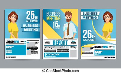 Business meeting poster vector business woman invitation and date business meeting poster set vector businessman and business woman invitation and date conference stopboris Images