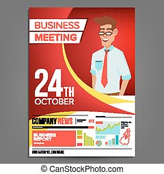 Business Meeting Poster Vector. Businessman. Invitation For Conference, Forum, Brainstorming. Red, Yellow Cover Annual Report. A4 Size. Lecture Motivation For Business Audience. Illustration
