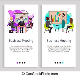 Business Meeting Presentation on Whiteboard Vector