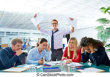 business meeting sad expression negative gesture