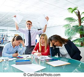 business meeting sad expression negative gesture
