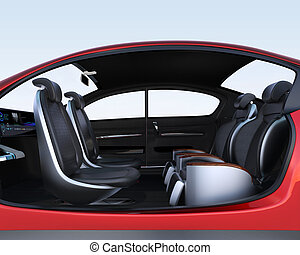 Business meeting seats' layout in autonomous car. Front ...