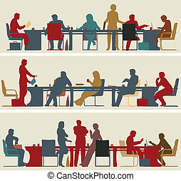 Business meeting - Set of three editable vector foreground ...