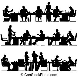 Business meeting - Set of three editable vector foreground...