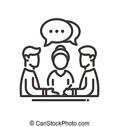 Business meeting single isolated modern vector line design icon. Group of people with a speech bubble with dots sign